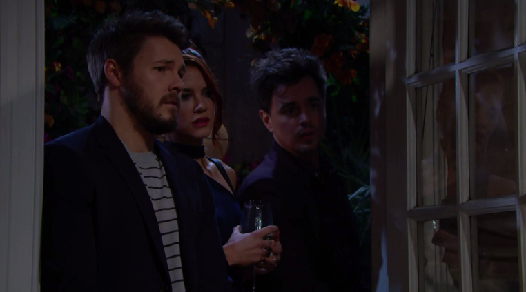 the bold and the beautiful wyatt, sally e liam guardano hope parlare con flo